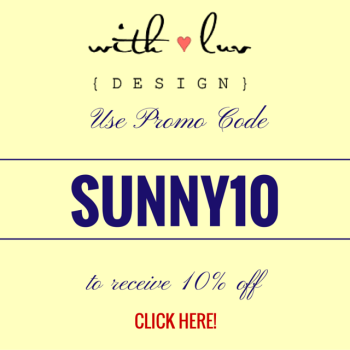 Promo Code for With Luv Design from Sunny in London for 10% off orders