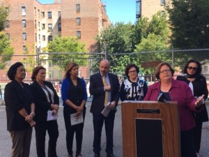 From left to right: Regent Judith Chin, Orlaith Staunton, PS 150 Principal Carmen Parache, Ciaran Staunton, Education Commissioner MaryEllen Elia, Assemblywoman Cathy Nolan, NYS Chancellor Betty Rosa.