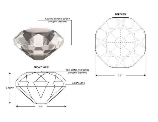 This is an image of a drawing by Deanna Yildiz of a diamond to produce in 3D which would then be customized with embedments or logos surface printed or a design etched on the surface.