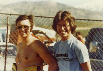 Reg Pridmore and Keith (Racecrafters Kawasaki team) at Laguna national in 1977.
