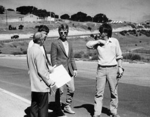 Laguna staff, engineer and Keith designing the new infield section at Laguna in 1987.
