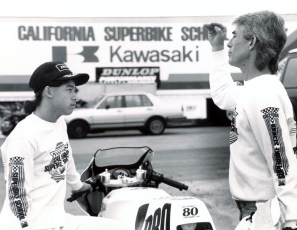 Jake Zemke being coached by Keith, 1989.