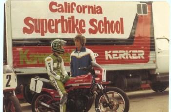 Eddie Lawson and Keith at Loudon Raceway, 1982.