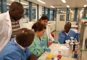 Capacitación a keniatas sobre la vacuna contra la fiebre aftosa. FOTO: Senasa.