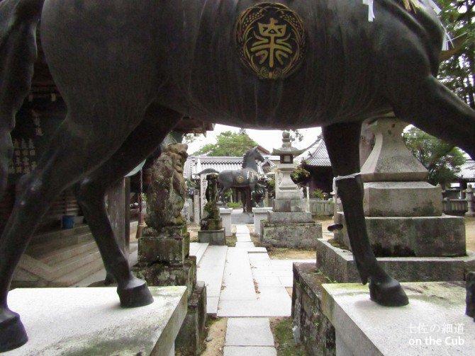 馬の下から大日寺が見える