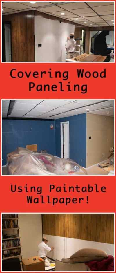 Using Paintable Wallpaper to Cover Wood Paneling - Super NoVA Wife