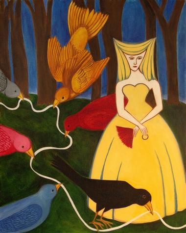 "The Bird Maiden, oil on canvas, 16"" x 20"" (by Emily Lisker)"