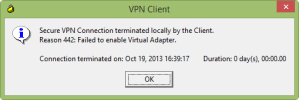 Cisco VPN on Windows 8.1 - Reason 442: Failed to enable Virtual Adapter