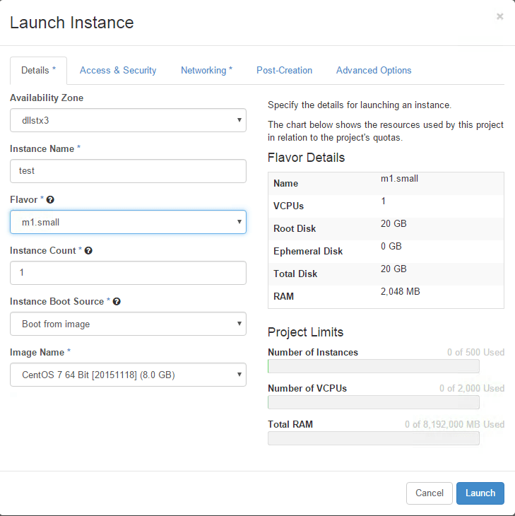 Cloud Launch Instance Details