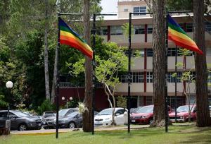 La UCR enarbola en su campus Rodrigo Facio banderas con mensajes que reiteran su compromiso con los derechos humanos y de ser un espacio libre de discriminación. Foto Laura Rodríguez.