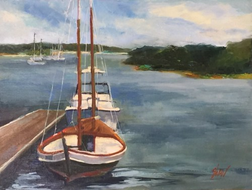 "sailboat and motorboat from Pleasant Street Wharf, 12""x16"""