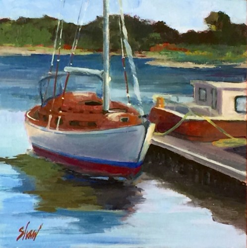 "two boats at Pleasant Street Wharf, 8""x8"" oil"
