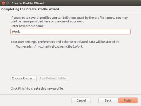 """Tela de seleção de nome de perfil. O nome selecionado é """"Work""""."""