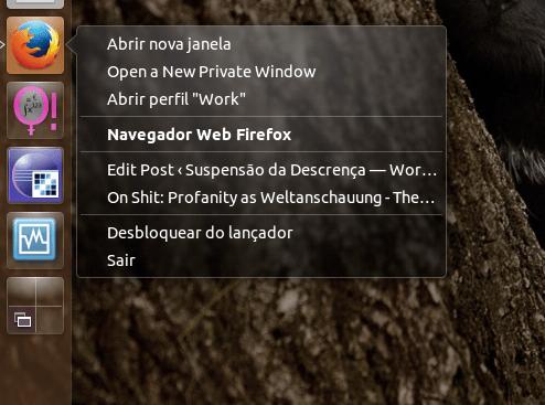 Um menu de contexto onde se lista a nova ação