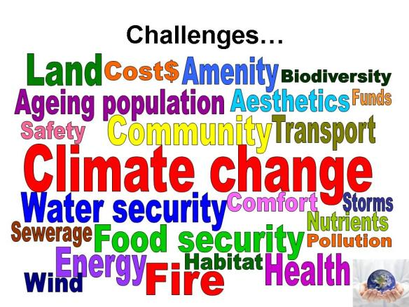 Coloured words showing challenges for urban development