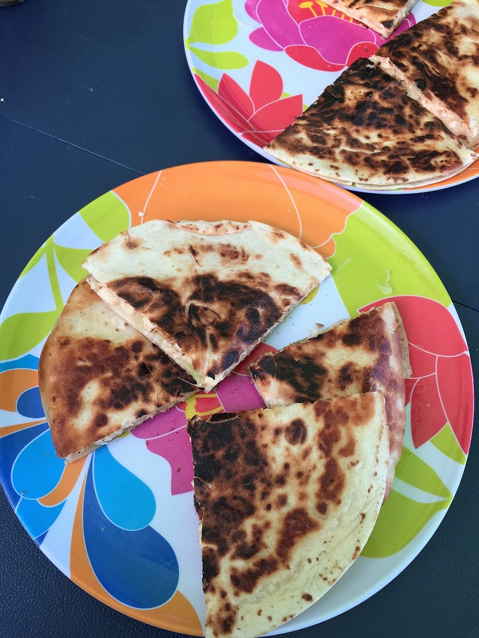 Cheesy Egg Camp Quesadilla