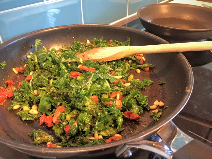 Goat's Cheese Scramble with Pesto'd Kale, Tomato and Pine Nuts   Susty Meals   Sarah Irving