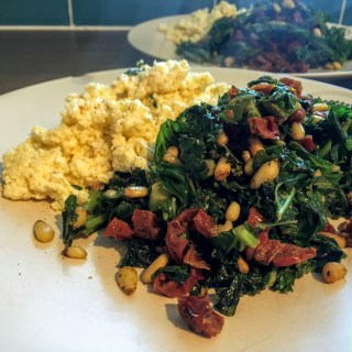Goat's Cheese Scramble with Pesto'd Veg