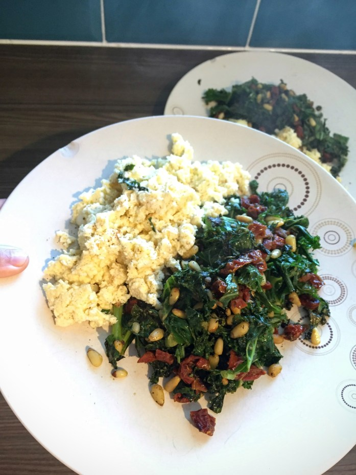 Goat's Cheese Scramble with Pesto'd Kale, Tomato and Pine Nuts | Susty Meals | Sarah Irving