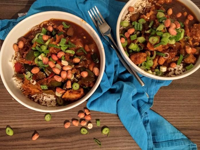 Vegan Slow Cooker Kung Pao | TKC Vegetarian Style 'Chicken Pieces' | Susty Meals | Sarah Irving