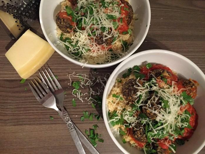 mushroom 'meatballs' in Marinara Sauce with Couscous | Vegetarian Meatball recipe | Susty Meals | Sarah Irving