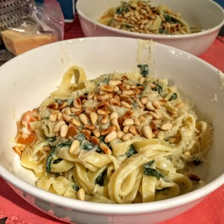 Tagliatelle with Lemon and Spinach Sauce