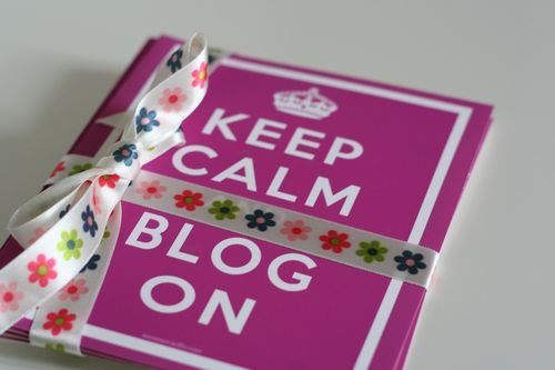 Keep calm and blog on blogger greeting card pink