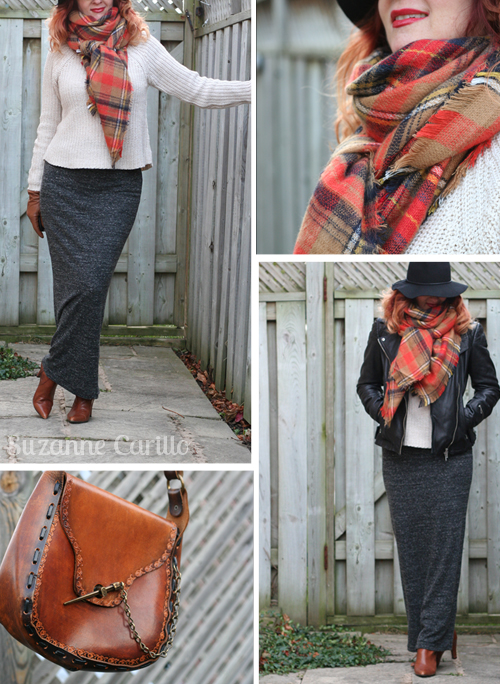 how to style a blanket scarf with a leather jacket style for women over 40
