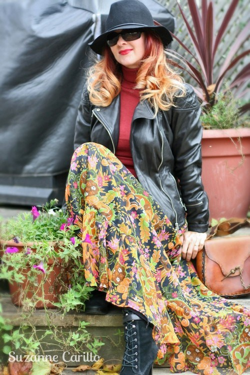 how to style a vintage maxi skirt with a black leather biker jacket and boots suzanne carillo