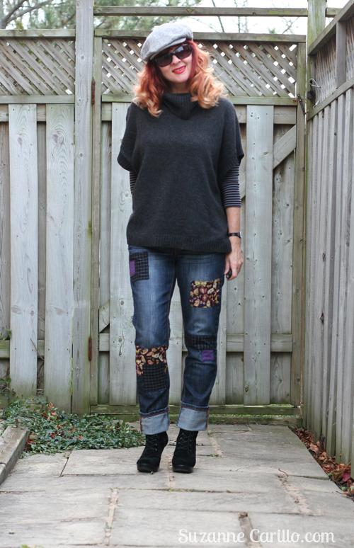DIY patchwork jeans