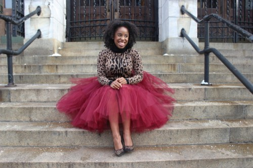 Burgundy tulle skirt