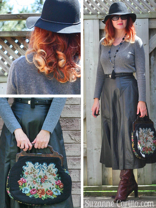 how to wear a leather midi skirt when you are petite