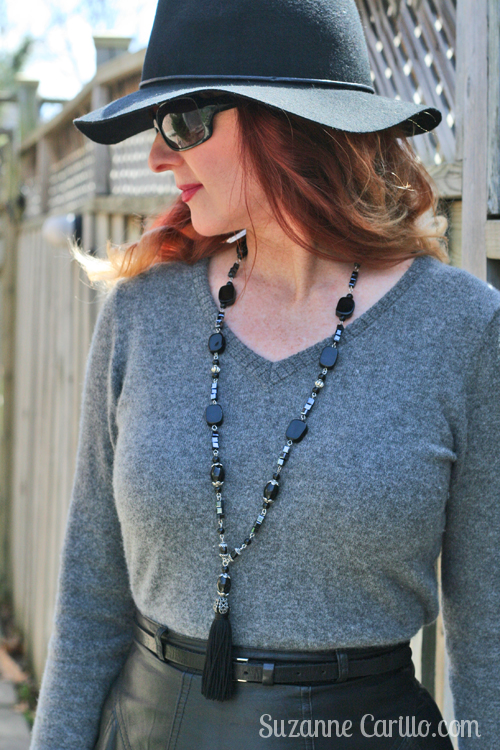 how to wear black and grey leather and casmere over 40 style