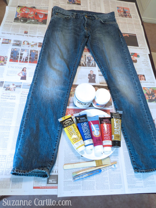 how to paint jeans by hand hand painted jeans DIY suzanne carillo