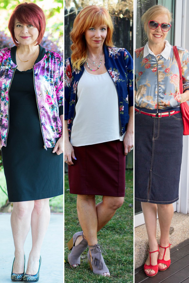 Women over 40 wearing floral bomber jacket trend for fall
