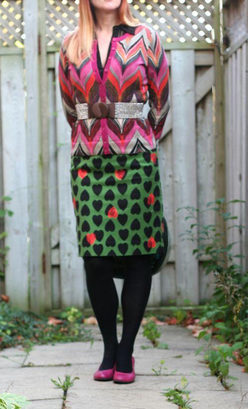 Green heart anthropologie pencil skirt