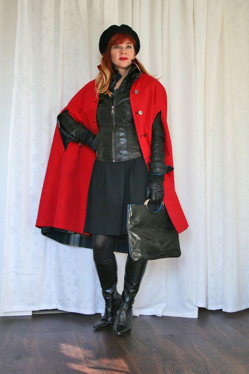 Black leather jacket vintage 1960's red cape
