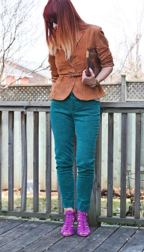 Brown suede jacket teal anthropologie pants magenta vince camuto heels