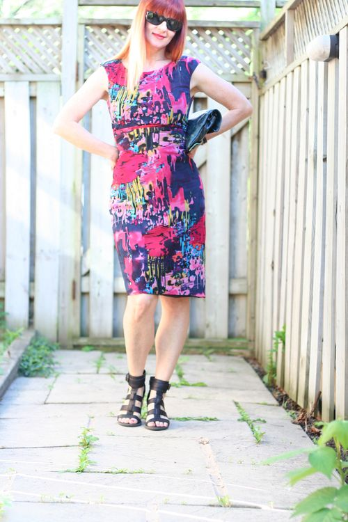 Red patterned Kay Unger dress suzanne carillo style files
