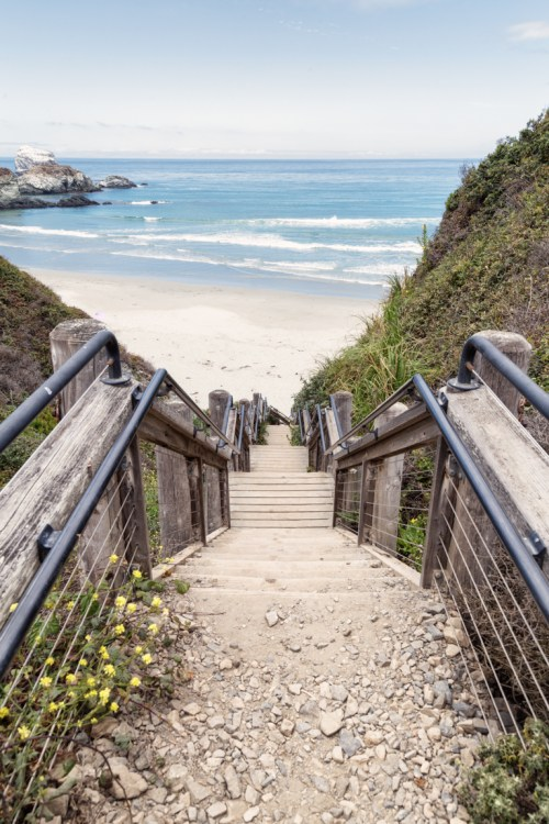 California beach stairs
