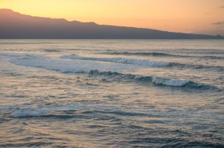 surfing sunset, Ho'okipa