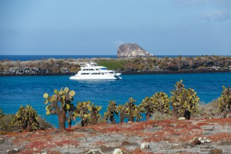 Eco Galaxy 2 Galapagos Cruiseship at Plaza Islands