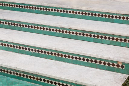 Mosaic details on garden stairs