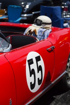 Racing number 55 and race gear with 1956 Alfa Romeo Giulietta Spider Veloce