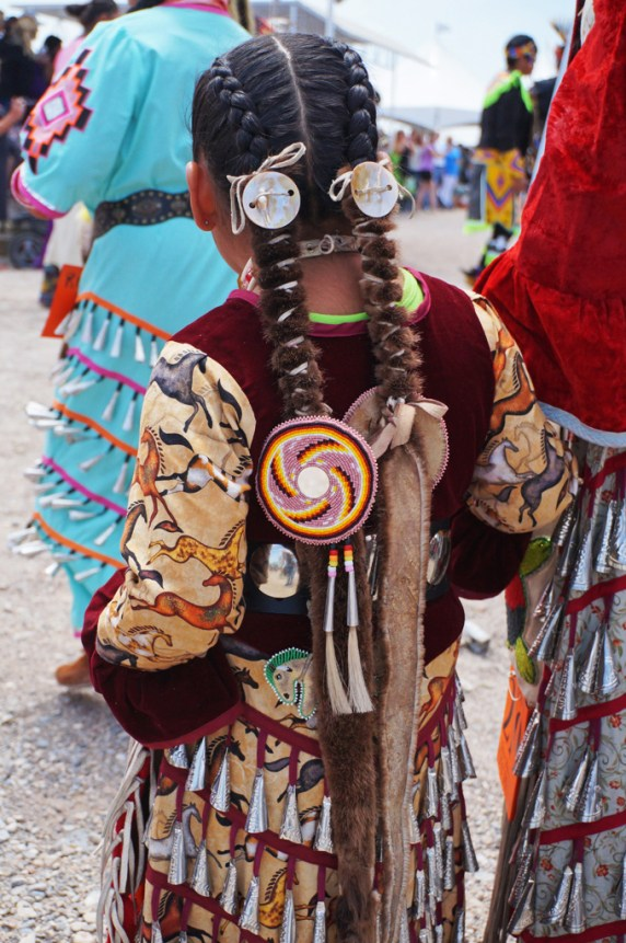 Pow Wow child braids and beadwork