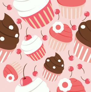 25.Cupcakes Seamless Pattern