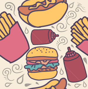 32.Fast Food Seamless Pattern