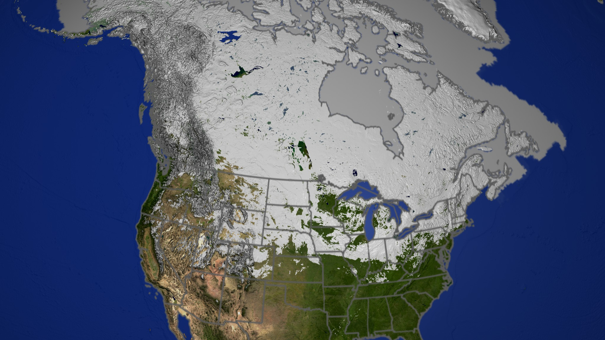 SVS  Daily Snow over North America 2002 2003 with Permafrost Map Download