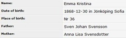 Emma Christina Svensdotter -  Birth Record - DB - 12 30 1868 - Johnkoping Sofia