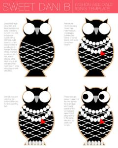 Sweet Dani B Cookies Template - Fashion Owls Cookie Icing Template